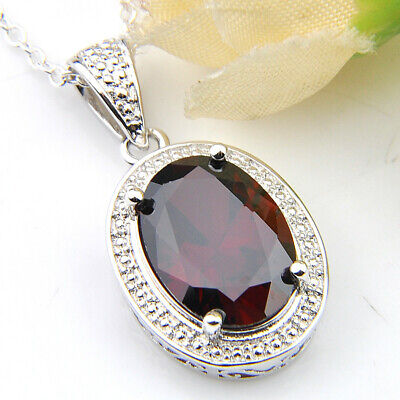 Handmade Fire Red Garnet Gemstone Vintage Silver Necklace Pendants With Chain