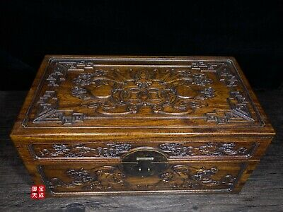 China Folk Huanghuali Wood Carve bat coin lucky pattern Chest Jewelry Box casket