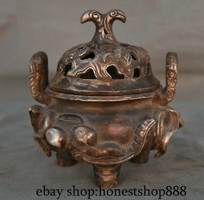 "6"" Old Chinese Silver Dynasty Palace Elephant Handle Bat Lid Incense Burners"