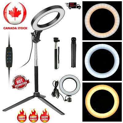 LED Ring Light Studio Photo Video Dimmable Lamp Tripod Selfie Camera Phone CA