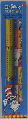 New Dr. Seuss 4x Wall Charts Kids Educational Learning ABC Alphabet 123 Counting