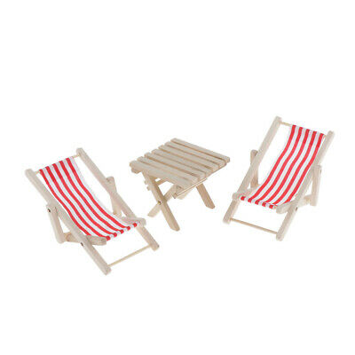 3pcs 1/6 Miniature Red Striped Beach Chairs with Table Dollhouse DIY Items