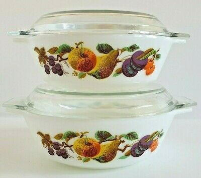 Vintage Retro JAJ Pyrex Round Casserole Dishes Kent Orchard/Hawaii New Old Stock