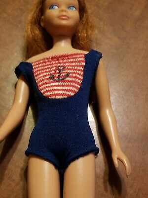Vintage Skipper doll Titian red hair 1963 Japan side glancing eyes w Swim Suit