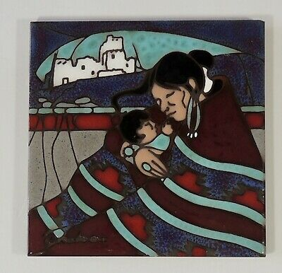 Cleo Teissedre Designs Ceramic Art Hand Painted Tile Trivet Woman & Child New
