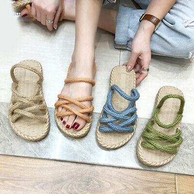 Women Solid Straw Hemp Rope Sandals Casual Flat Slippers Comfortable Beach Shoes