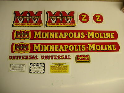 Minneapolis Moline Model Z Tractor Decal Set  - NEW FREE SHIPPING
