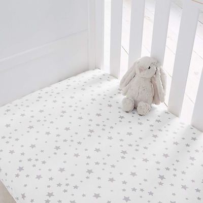 Silentnight Safe Nights Cot Fitted Sheets Pack of 2 - Grey Star