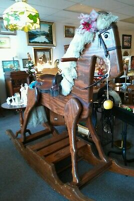 Brown Wooden Life Size Rocking Horse