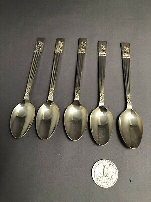 Angora demitasse spoons EPNS Silver plate Made in England lot of 5