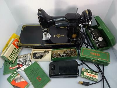 Singer Sewing Machine Black 221-1 Featherweight Lots Of Extras 1952 Works!
