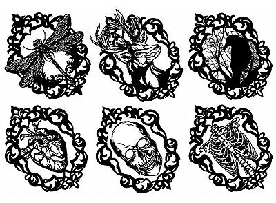 """Gothic Cameo Raven (6 pcs  3"""")  5""""X7"""" Card Black Fused Glass Decals 18CC1136"""