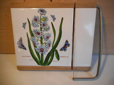 Portmeirion Botanic Garden Eastern Hyacinth tile cheese board with wire cutter