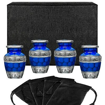 Forever Remembered Blue Small Keepsake Urn for Human Ashes - Set of 4 - w Case