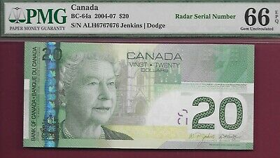 Canada 2004 $20 BC-64a 2 Digit Repeating Radar ALH6767676 PMG GemUnc66 EPQ