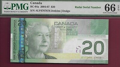 Canada 2004 $20 BC-64a 2 Digit Repeating Radar ALF6767676 PMG GemUnc66 EPQ