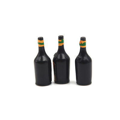 3X Whiskey Wine Bottle Miniature Bar Pub Drink Dollhouse Decor Gift CollectionWD