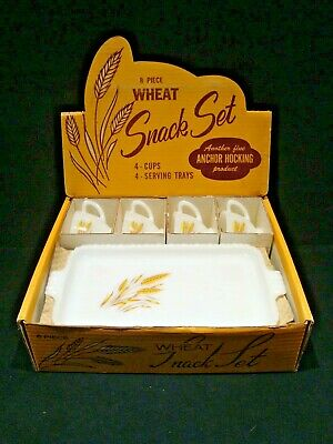 Vintage Anchor Hocking 8 Piece Wheat Snack Set in Box MILK GLASS Fire-King