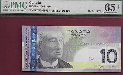 Canada 2007 $10 BC-68a 2 Digit Repeating Radar BTG5959595 PMG GemUnc65 EPQ