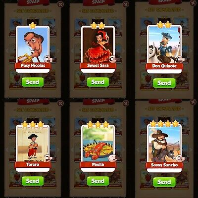 Coin master cards. Set SPAIN cards pack. 6 cards in photo. Fast delivery.