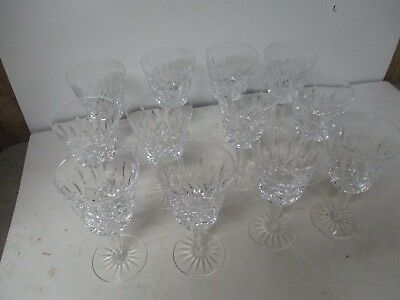 """12 Stunning 7"""" Tall Waterford Crystal Stem Water Goblet Glasses - LISMORE"""