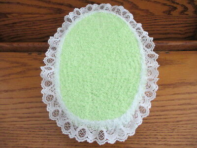 """9""""x6"""" DOLL BED DISPLAY 4 OOAK BABY SOFT BRIGHT GREEN FABRIC COVER METAL FRAME"""