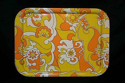 Mod Vtg 60s 70s Metal TV Tray Orange Yellow Flower Power Psychedelic Groovy 1960