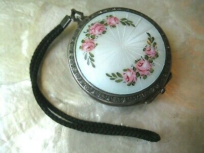 Antique Sterling Silver GUILLOCHE ENAMEL Pink ROSES MAKEUP ROUGE POWDER COMPACT