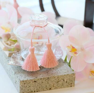 Glass Chinese Teaware Pink Tassel With Tray 2 Set