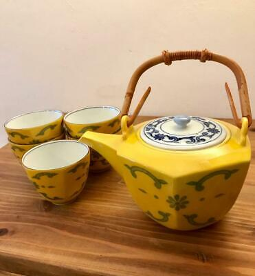 Tachikichi Yellow Tea Bowl Set Teapot 5 Customers