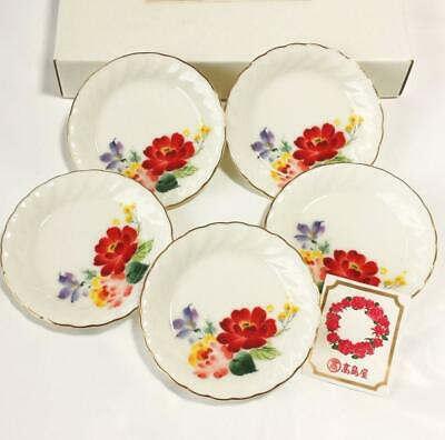 Mint Rare Gift Items Tachikichi Graceful Flower Pattern Poetry Small Plates Set