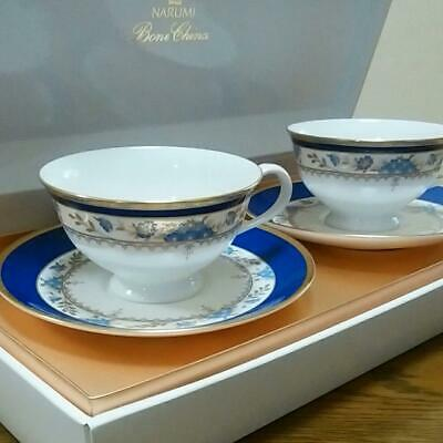 Narumi Blue Small Flower And Gold Color Pair Cup Saucer