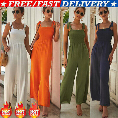 CA Women Summer Casual Sleeveless Jumpsuit Loose Wide Leg Pants Suit Playsuit