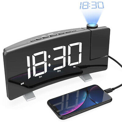 2019 NEWEST ELECTRIC PROJECTION ALARM CLOCK FM Radio LED Curved-Screen Dual USB