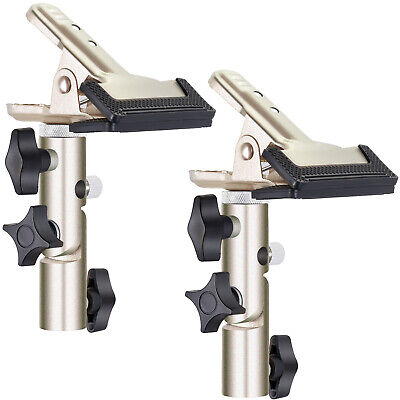"""Neewer 2pcs Gold Max. 1.96"""" Open Metal Spring Clamp Holder with 5/8 inches Stud"""