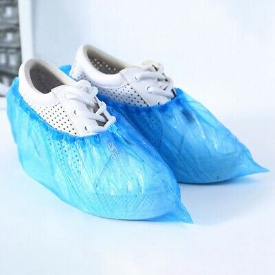 100 Disposable Shoe Cover Overshoes Blue Anti Slip Plastic Cleaning Boot Awesome
