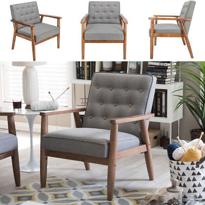 Retro Modern Arm Accent Chair Single Sofa Cushioned Seat Wood Lounge Living Room