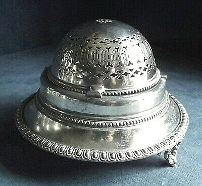 GOOD ~ SILVER Plated ~ ROLLOVER Butter /  Olive DISH ~ c1900
