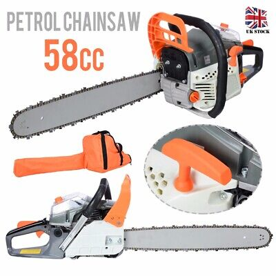 "58cc 3.4HP 20"" Petrol Chainsaw + 2 X Chains + Oil Bottles + Carrying Bag +More"