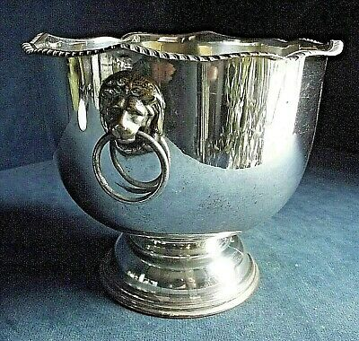 "GOOD 7"" ~ SILVER Plated ~ LIONS Head ~ Snack / Rose BOWL ~ c1925"