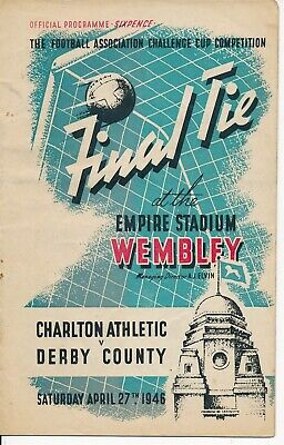 FA CUP FINAL PROGRAMME 1946 Derby County v Charlton Athletic very slight crease