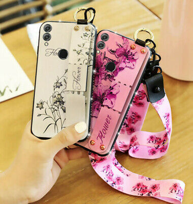 For Huawei Honor 8X/ P30 Pro /P Smart 2019 Bling Silicone Case Hand Strap Holder