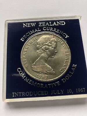 1967 New Zealand Commemorative Dollar Coin, Crown Sized In Protective Case UNC