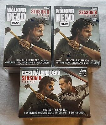 3x Topps the Walking Dead Season 8 Trading Cards Blaster Box 2018 Trading Cards