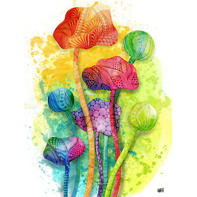 Abstract Bright Watercolour Poppy Flowers Painting Canvas Wall Art Print Poster