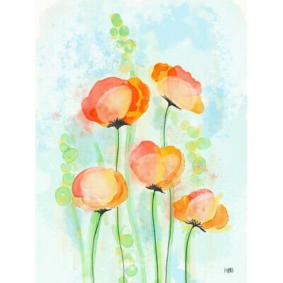 Poppy Flowers Bloom Watercolour Painting Canvas Wall Art Print Poster