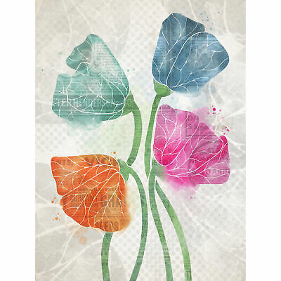Abstract Poppy Flower Collage Painting XL Wall Art Canvas Print