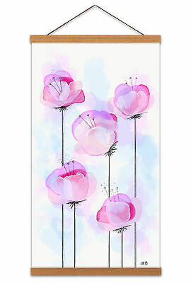 Delicate Pink Flowers Poppy Painting Canvas Wall Art Print Hanger 24X12 In