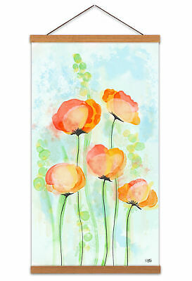 Poppy Flowers Bloom Watercolour Painting Canvas Wall Art Print Hanger 24X12 In
