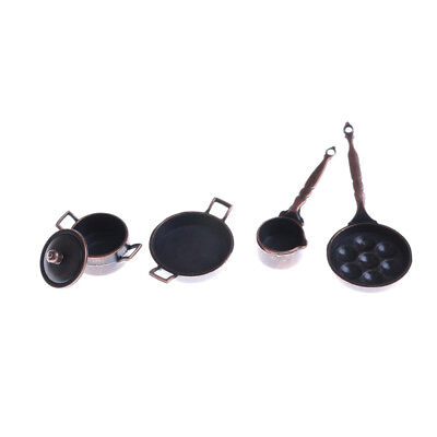 4Pcs Dollhouse Miniature Metal Cooking Pan Pot Set Kitchen Cookware Access WD